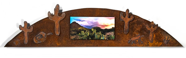 Desert Monsoon, 32x9 inches. Rusted recycled steel.