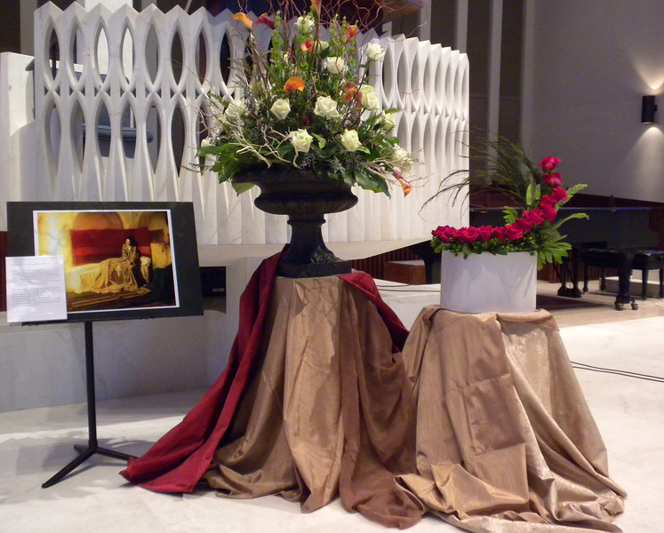 Sunday, 2/26/12, at National Presbyterian Church - arrangement by Beverly Tam to interprete the painting shown