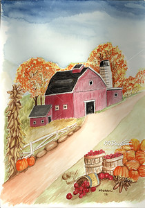 Red Barn in the Fall - 9 x 12