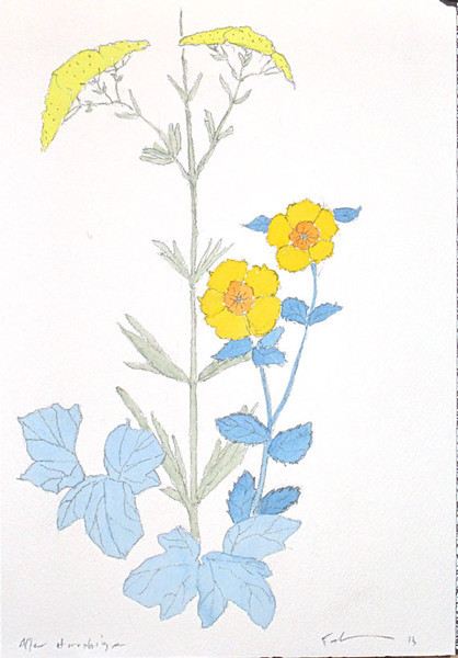Yarrow and other flowers after Hiroshige