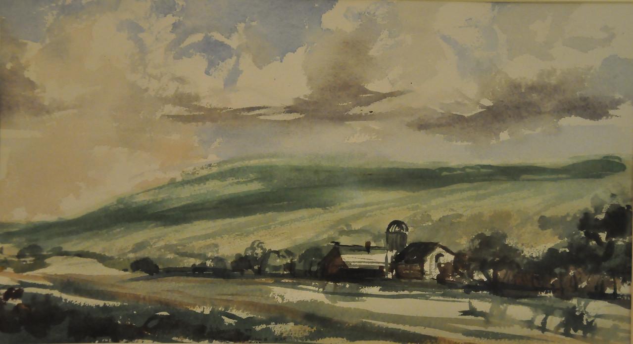 Moving Clouds Over Avon Farm Watercolor 15X22 Ala prima, plein aire