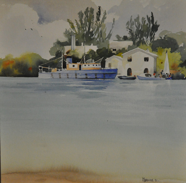 Residential cottages, Bermuda Biostation Watercolor 13.5X13.75