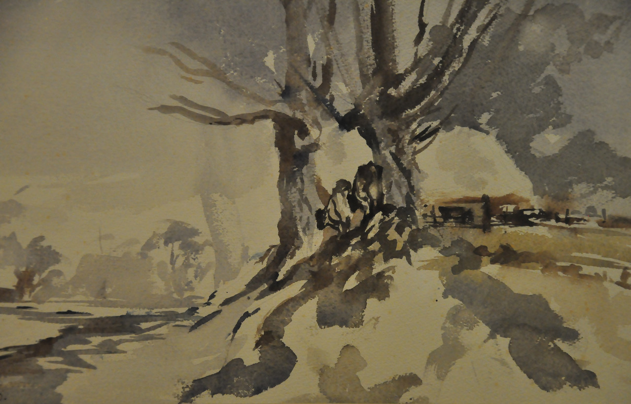 Melting Snow and Little  Farm Watercolor 17X21 Ala prima, Plein aire.