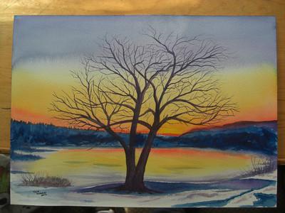 apr 20, 2012, Winter Sunset on the Saranac River, CIMG7096