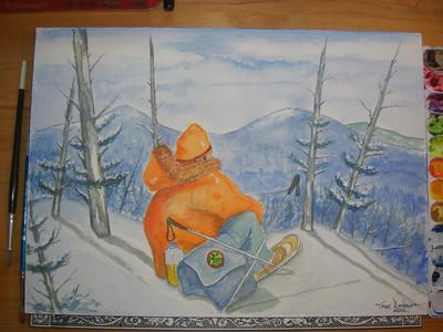 """""""On Mt Colden, december 1979"""", completed Feb 1, 2012"""