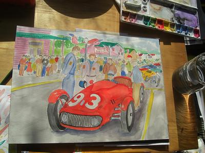 watercolor of 1952 Watkins Glen GP - in progress, apr 6, 2012 CIMG7004