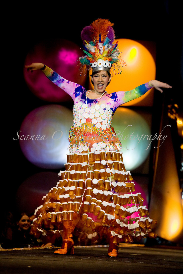"""Artist Rhonda Scott takes the runway in her piece, """"Prescribe This!"""" made with 400 of her own prescription bottles, beads and wire during Juneau's Wearable Arts show Saturday, Feb. 14, 2009 at Centennial Hall in Juneau, Alaska. (Photos by Seanna O'Sullivan Photography)"""