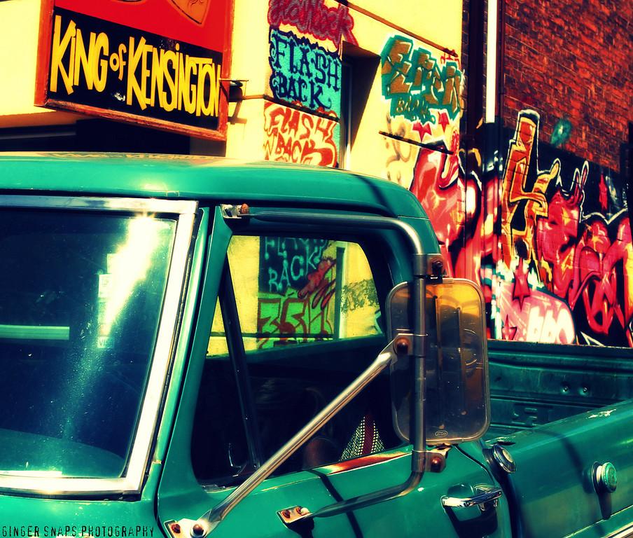 Lots of colourful graffiti throughout the Kensington neighbourhood.  A a nice nod to Al Waxman!