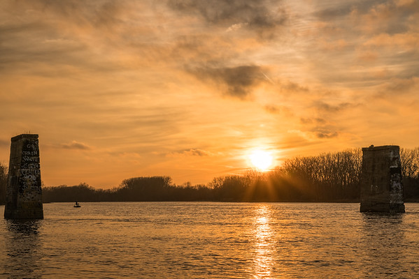 fishing at sunset, Maumee river