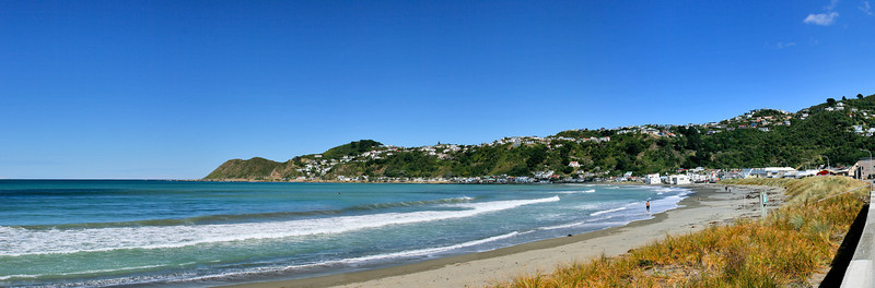 This is a panoramic stitch of Lyall Bay, shot with my canon 400D and stitched with PTgui.