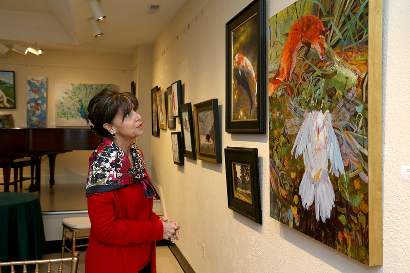 Sara Bogosian the President and Executive Director of the Whistler House Museum Of Art looks over some of the new work in the show they are calling Kingdom Animalia. SUN/JOHN LOVE