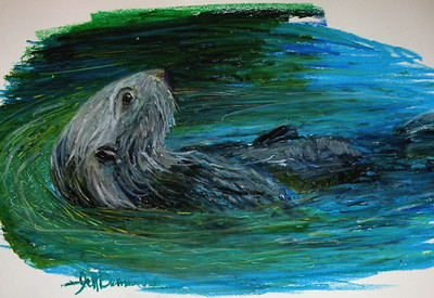 "Sea Otter 11""x14"" Oil Pastel on Bristol Board"
