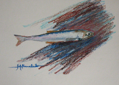 "No Anchovies Please 11""x14"" Oil Pastel on Bee Drawing paper"
