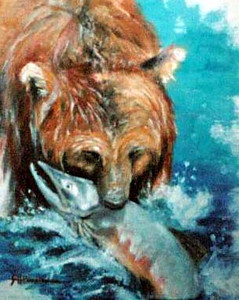 "Brown Bear and Salmon 11""x14"" Acrylic Wash on Cloth Private Collection"