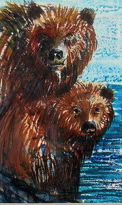 """Grizzlies"" 6""x8"" Felt Pen and Crayon on Vellum Bristol This is the oldest of the felt pen works shown a quick study that I did my senior year of high school 39 years ago!!!"