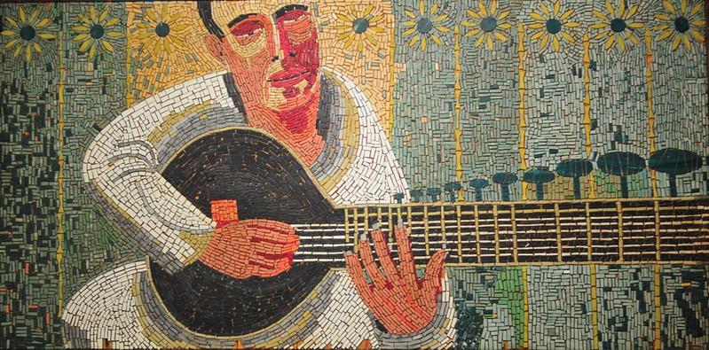 """Ravi Shankar"", linoleum mosaic on plywood, 20"" X 41"""