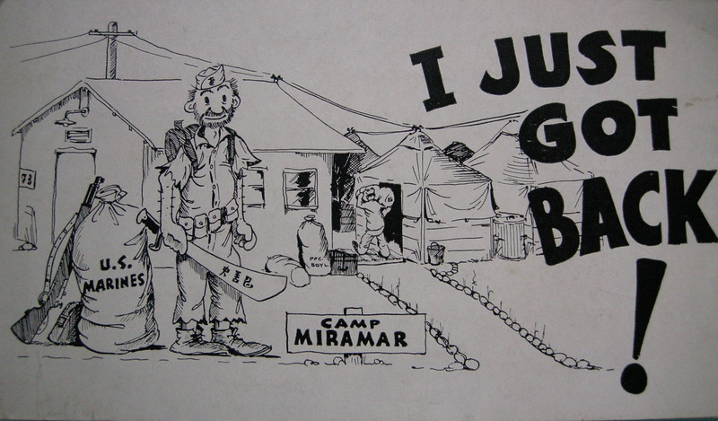Front of postcard Bill mailed to his Aunt Sarah depicting a returning Marine back to Camp Miramar