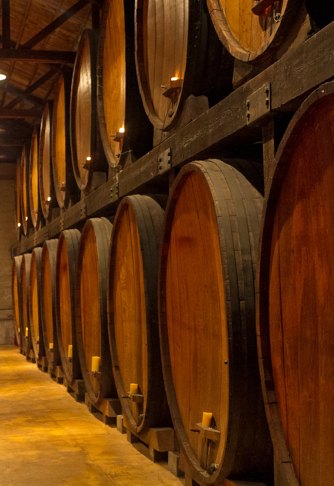Casks in the tasting room of Merryvale Winery in St. Helena, Calif., is seen on Saturday, March 10th, 2012.