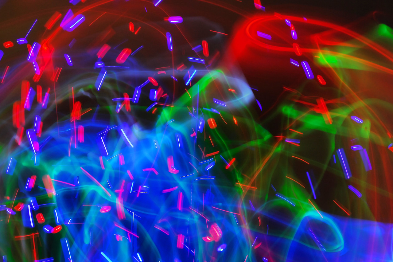 """""""Flock"""" is a ten second exposure at f14 of the same dancers with a different selection of light toys."""