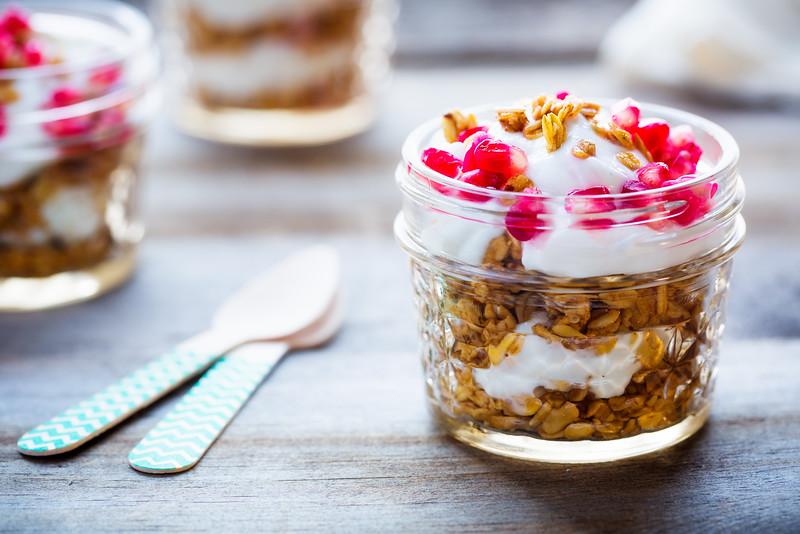 Yogurt Parfait Topped with Pomegranate