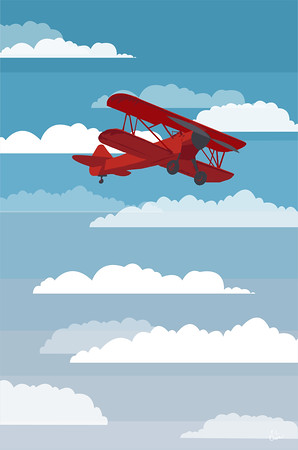Red Plane with Clouds