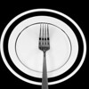 Culinary image of a single fork centered an a black a white plate. Art deco feel. Could be a dining icon