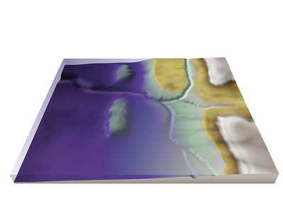 Model of sabkha depositional environment to illustrate Mississippian Debolt facies distribution.  3D Model rendered in Surfer Mapping Package, layering and shading in Photoshop.
