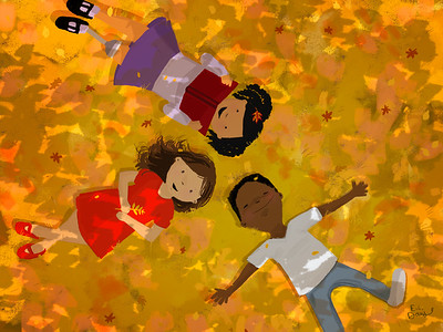 Kids Reading in Yellow Leaves