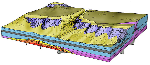 Illustration showing the Devonian Slave Point east of Pine Point in the Canadian Northwest Territories.  Hand drawn with ink and coloured/shaded in Photoshop.
