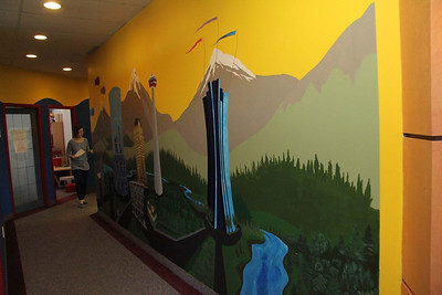 Pace Kids Wall Mural - This is in a fairly narrow corridor, so I took a series of photos and stitched them together for the previous image.