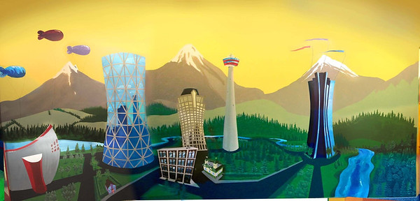 Pace Kids Wall Mural - Photo Mosaic.  8 ft by around 16ft, acrylic.  This was started in November 2011 and finished by the following January. The buildings depicted from left to right are the Saddle Dome, The Bow Tower, Calgary Chamber of Commerce, Banker's Hall, Pace Kids building (on McLeod Trail), the Calgary Tower, and the Devon (ex-Canterra) Tower.  The roadways are painted with magnetic paint so that the kids could play with toy cars that had magnets stuck to the bottom.   Paint supplies were donated by Devon.