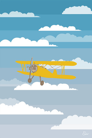 Yellow Plane with Clouds