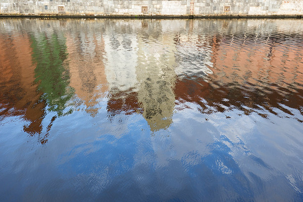 Reflections on a river in Gdansk