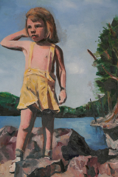 Three Year Old on Rock by Lake