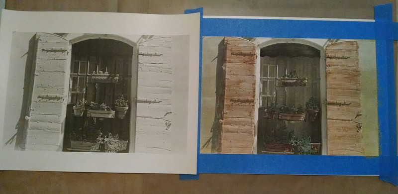 Comparison of original silver gelatin print and the hand colored version