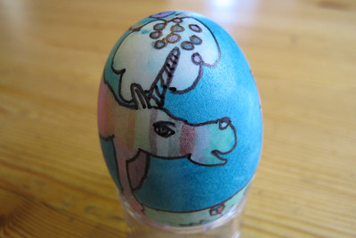 "Clara's Masterpiece Egg and Poem, ""Baby Unicorn's First Day Out"""