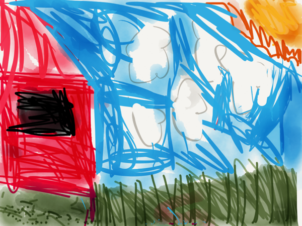 """The Pink House with Blue Sky"" by Kayleigh Mack"