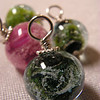 Green and pink Galaxy series beads, small round