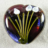 Red and purple heart bead with tulips