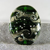 Green Starry Nights bead, large oval tab