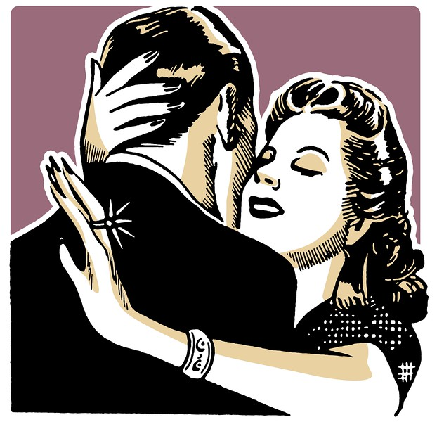 A vintage illustration of a couple embracing --- Image by © ImageZoo/Corbis