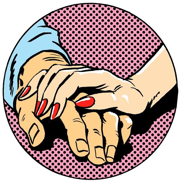 Comic Strip Touching Hands --- Image by © John Richardson/Illustration Works/Corbis