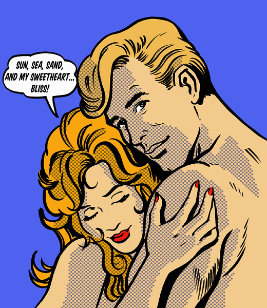 Close up cartoon of nude couple hugging with content woman thinking in thought bubble of holiday and romance --- Image by © Jacquie Boyd/Ikon Images/Corbis