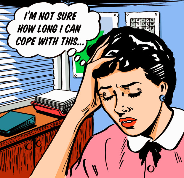 Frustrated businesswoman worrying in thought bubble --- Image by © Jacquie Boyd/Ikon Images/Corbis
