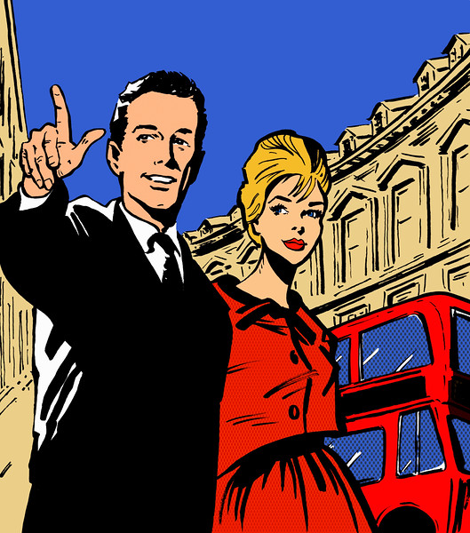 London, England, UK --- Retro couple sightseeing in London --- Image by © Jacquie Boyd/Ikon Images/Corbis