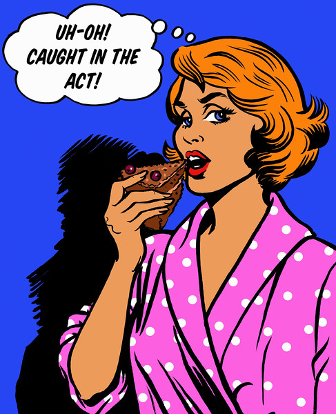 Woman with thought bubble getting caught in the act eating slice of chocolate cake --- Image by © Jacquie Boyd/Ikon Images/Corbis
