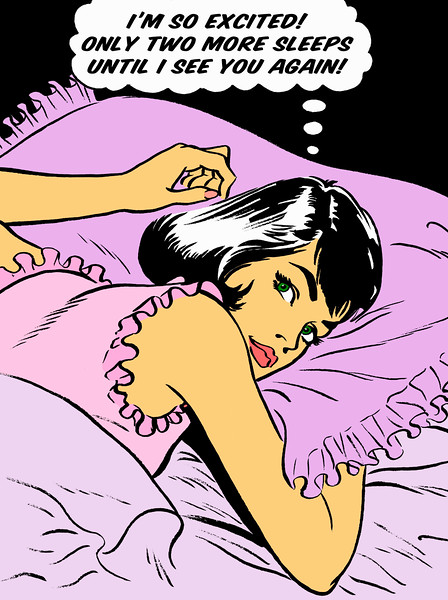Excited woman laying in bed thinking in thought bubble --- Image by © Jacquie Boyd/Ikon Images/Corbis