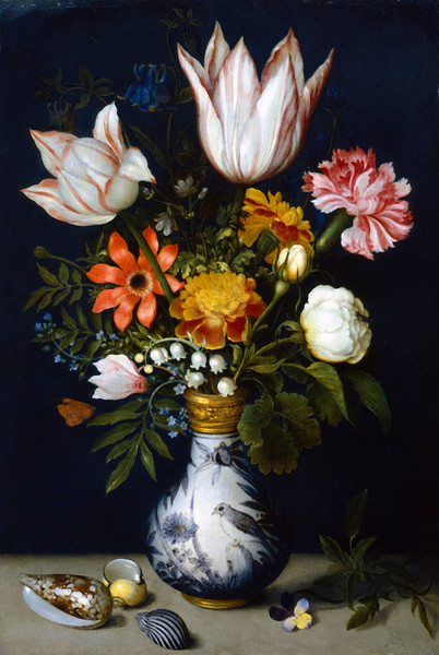 Tulips, roses, carnations, french marigolds, lily-of-the-valley, aquelegia, forget-me-not and other flowers in a porcelain vase. On the table is a heartsease, a small pansy, and sea shells. Painting circa 1600. Ann Ronan Picture Library. --- Image by © Heritage Images/Corbis