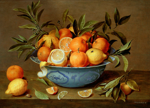 ca. 1602-1647 --- Still Life with Oranges and Lemons in a Wan-Li Porcelain Dish by Jacob van Hulsdonck --- Image by © The Gallery Collection/Corbis