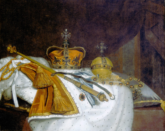 'Regalia of Charles II', 1670s, anonymous artist. 'Still life' showing the Crown of State, the Royal Sceptre with its finial cross, the orb, the Garter, the Garter riband with the 'lesser George' and the Garter collar with the 'George' all resting on a cushion and a loosely folded ermine-lined crimson parliamentary robe with red and gold cords ending in large tassels. Museum of London. --- Image by © Heritage Images/Corbis